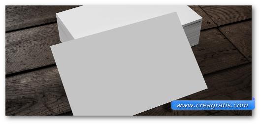 Immagine di un blocco di carta usato per creare i biglietti da visita