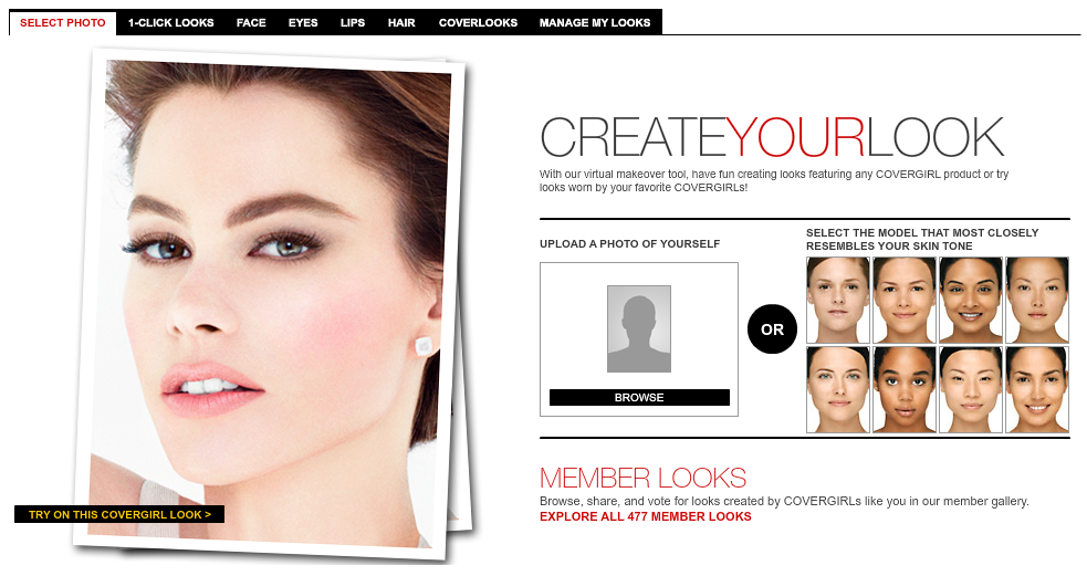 Schermata del sito Cover Girl
