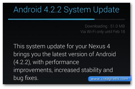 Schermata dell'aggiornamento di versione di Android