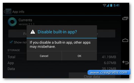 Schermata sulle applicazioni Android che non si possono eliminare