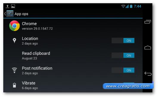 Schermata sulla personalizzazione delle impostazioni delle applicazioni Android