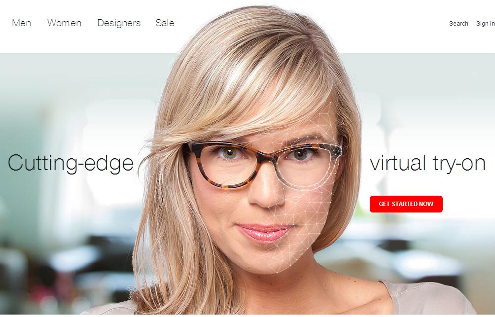 Immagine del sito Ditto per la prova di occhiali online