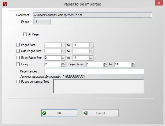 Schermata della scelta delle pagine PDF da analizzare