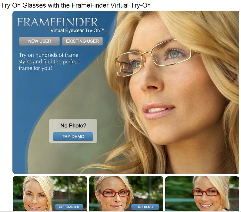 Immagine del sito FrameFinder per la prova di occhiali