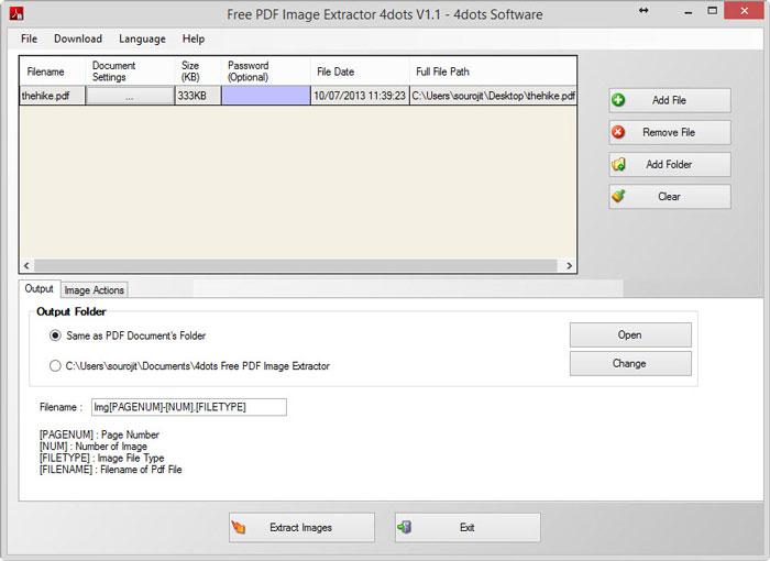 Interfaccia grafica del programma Free PDF Image Extractor