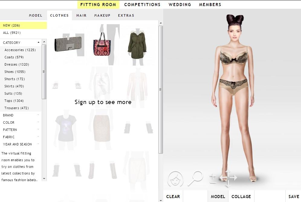 Immagine del sito GlamStorm per provare vestiti online