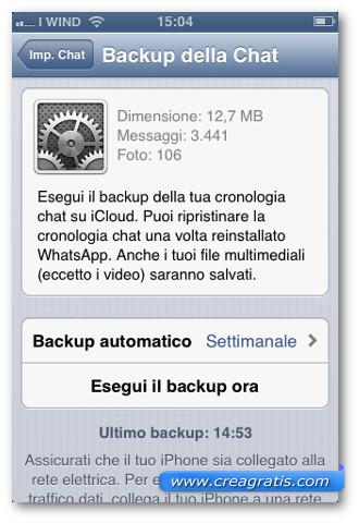 Schermata di backup di WhatsApp
