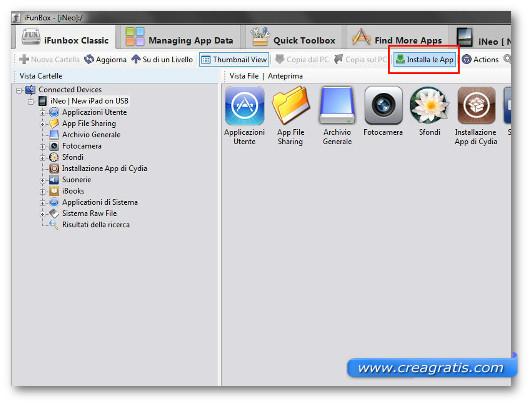 Schermata del programma iFunBox