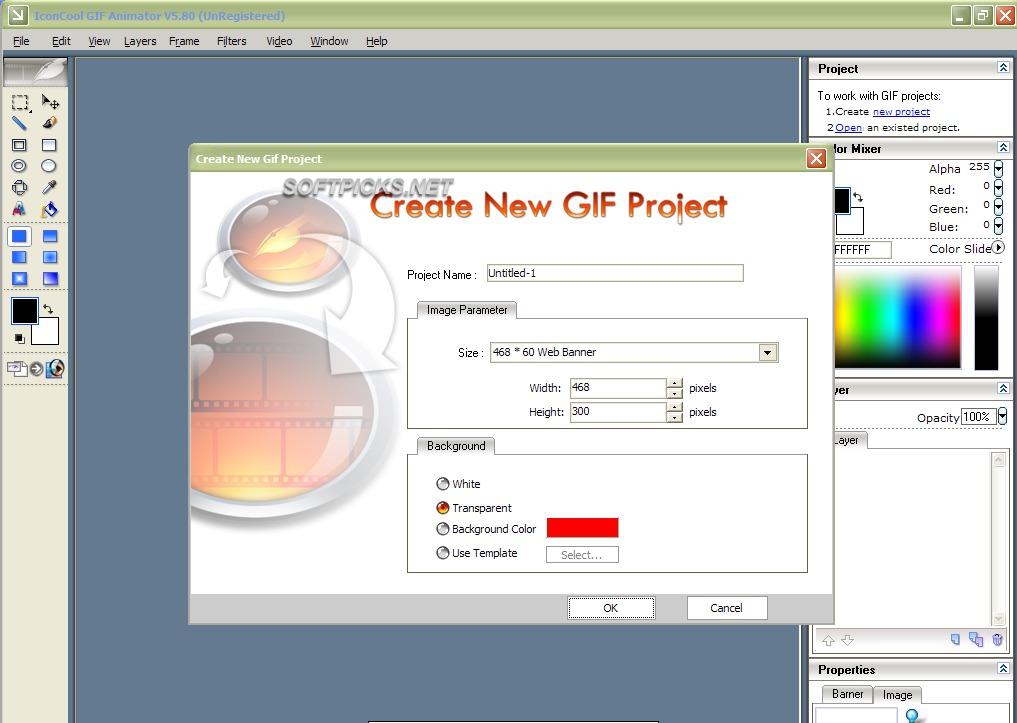 Interfaccia grafica del programma Iconcool GIF Animator