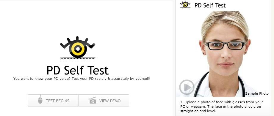 Immagine del sito PD Self Test per la prova di occhiali da sole