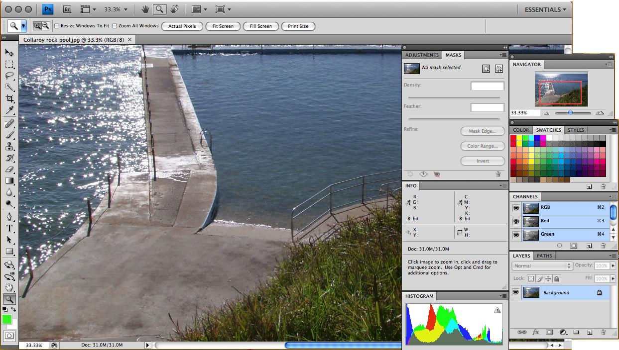 Interfaccia grafica del programma Adobe Photoshop CS4 Extended