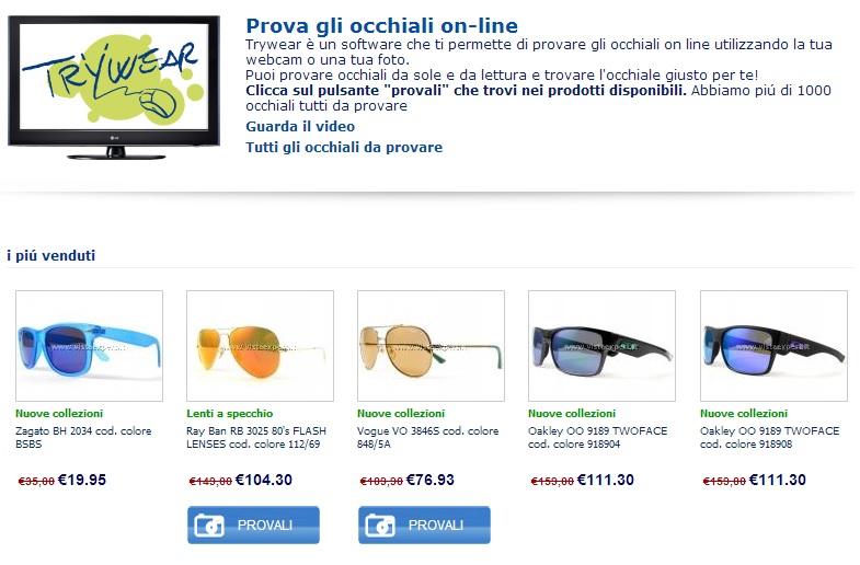 Immagine del sito VistaExpert per la prova di occhiali da vista