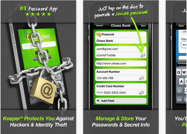 Schermate dell'applicazione Keeper per Android