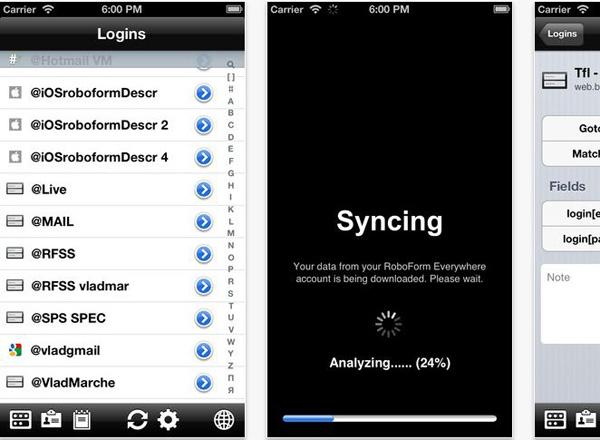 Schermate dell'applicazione Roboform per Android