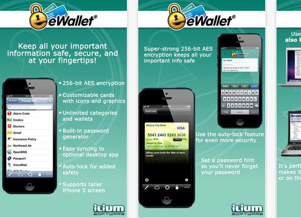 Schermate dell'applicazione eWallet per Android