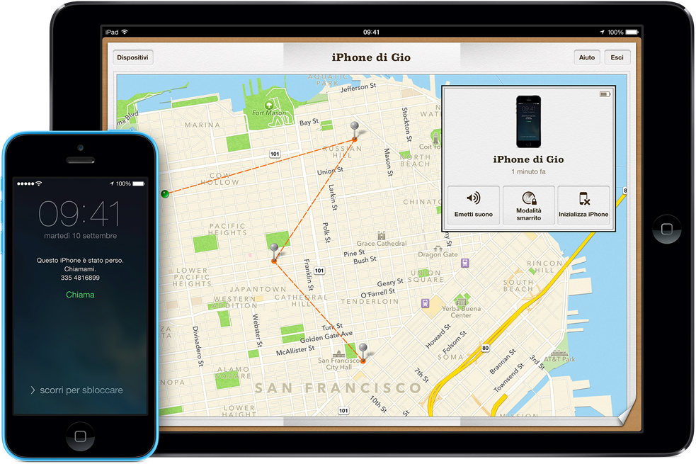 Schermata dell'applicazione Trova il mio iPhone