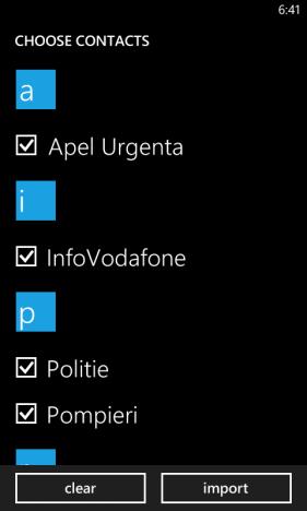 Schermata dei contatti della SIM appena importati su Windows Phone 8