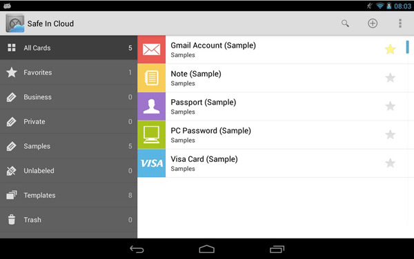 Schermata dell'applicazione Safe In Cloud Password Manager per Android