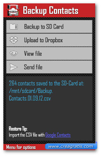 Schermata dell'applicazione Backup Contacts per Android