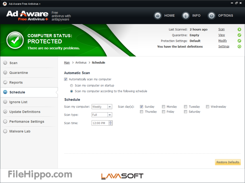 Schermata dell'antivirus gratis Ad-Aware Free Antivirus +