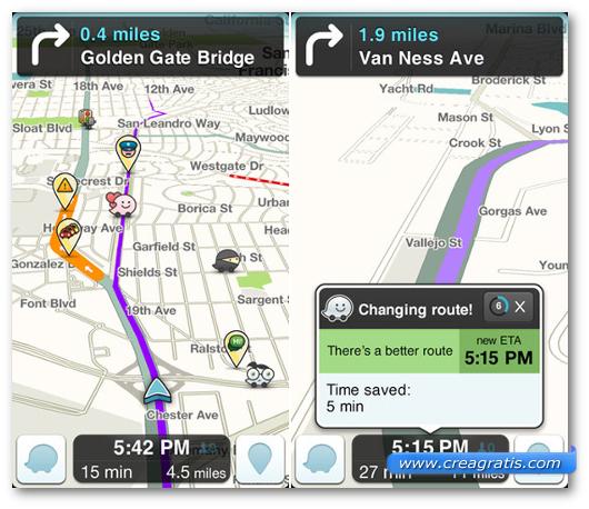Schermate dell'applicazione Waze