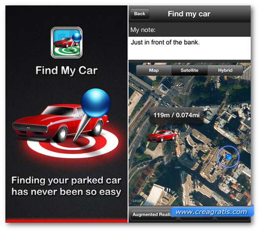 Schermate dell'applicazione Find My Car