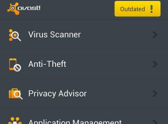 Schermata dell'antivirus Avast per Android