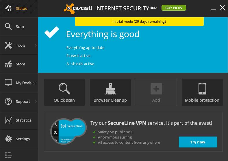 Schermata dell'antivirus gratis Avast! Free