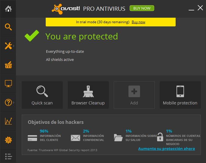 Schermata dell'antivirus Avast