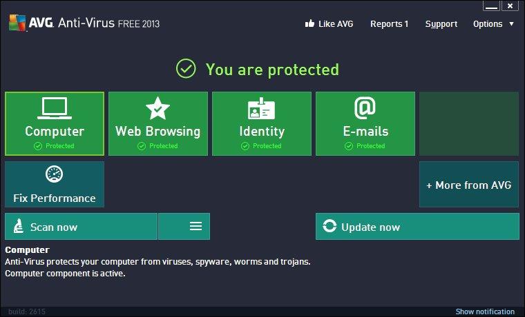 Schermata dell'antivirus AVG