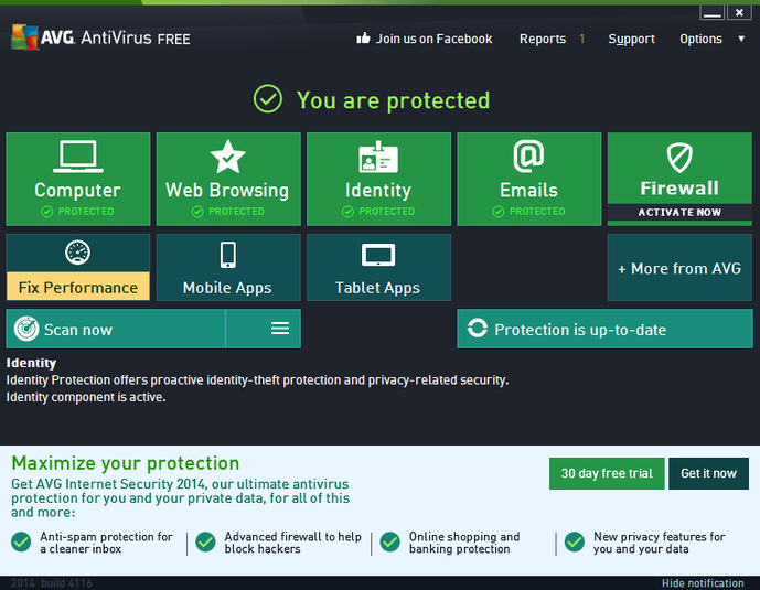 Schermata dell'antivirus gratis AVG Free Edition