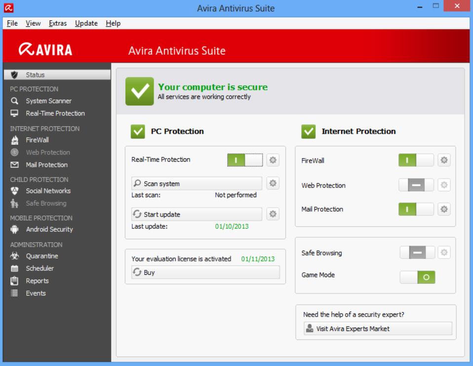Schermata dell'antivirus Avira Free