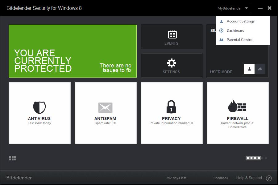 Schermata dell'antivirus Bitdefender