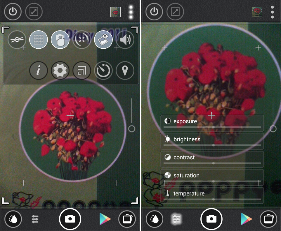 Schermate dell'applicazione Cameringo per Android