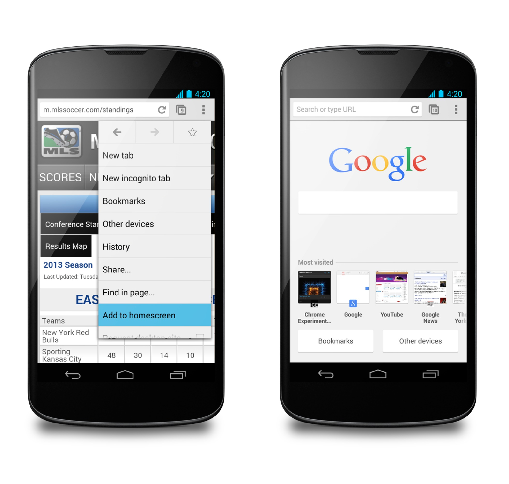 Schermate del browser Chrome per Android