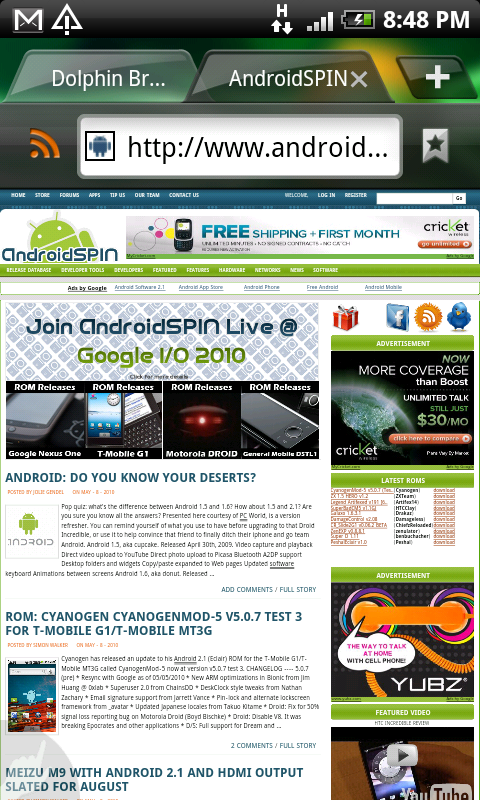 Schermata di Dolphin Browser per Android
