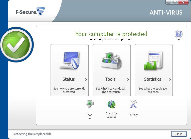 Schermata dell'antivirus F-Secure