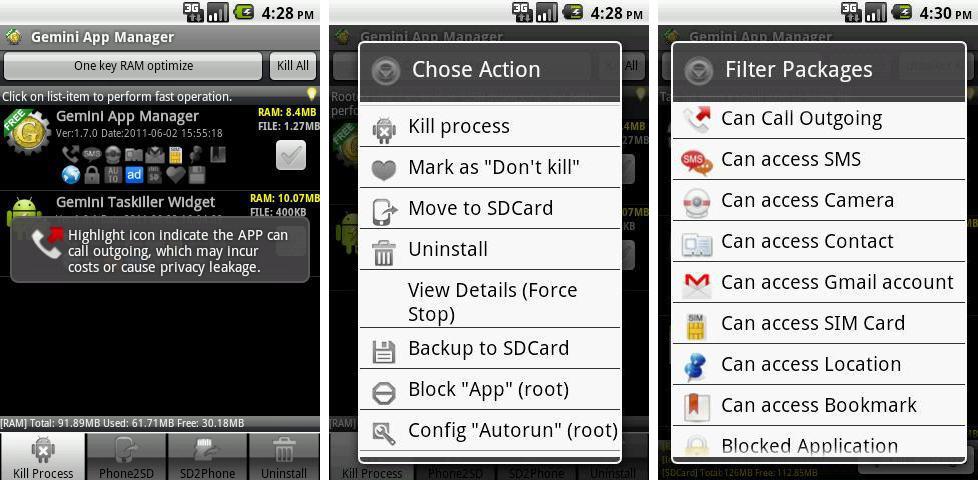 Schermate dell'applicazione Gemini App Manager