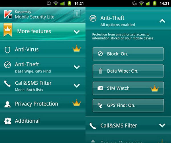 Schermata dell'antivirus Kaspersky per Android
