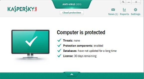 Schermata dell'antivirus Kaspersky