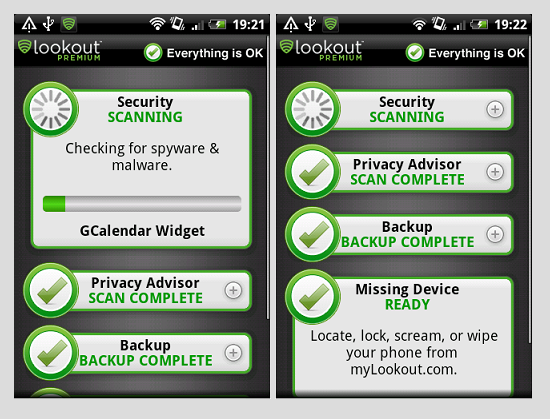 Schermata dell'antivirus Lookout per Android