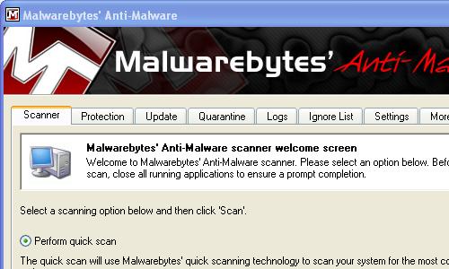 Schermata dell'antivirus gratis Malwarebytes Anti-Malware