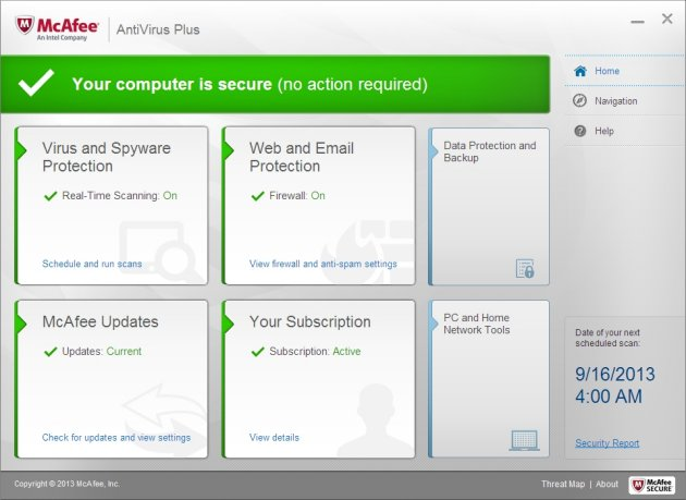 Schermata dell'antivirus McAfee