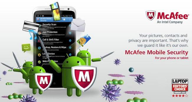 Schermata dell'antivirus McAfee per Android