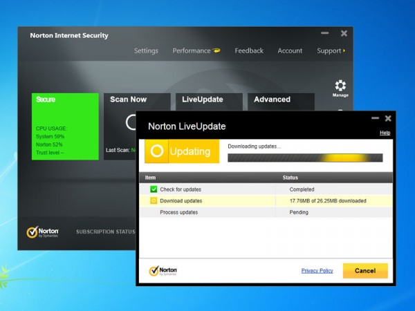 Schermata dell'antivirus Norton
