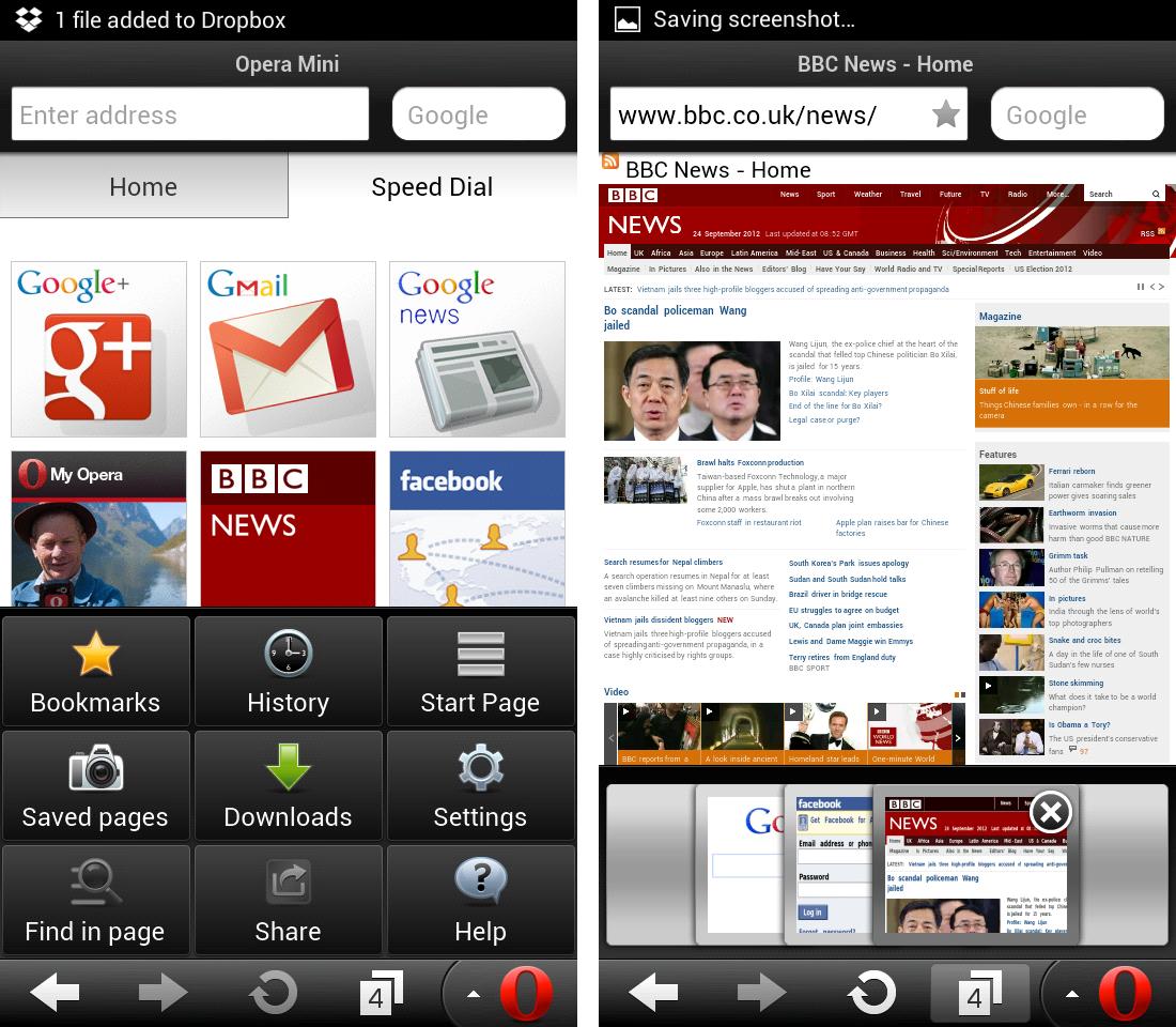 Schermate del browser Opera per Android