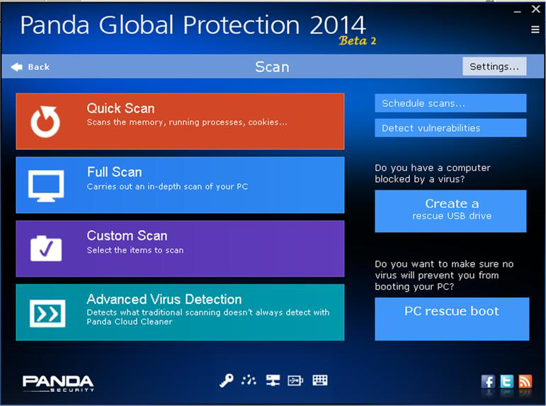 Schermata dell'antivirus Panda