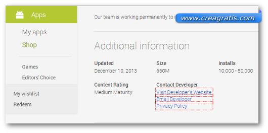 Schermata di contatto degli sviluppatori di un'applicazione Android