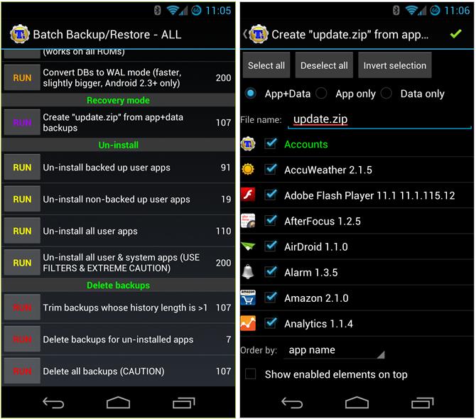 Schermate dell'applicazione Titanium Backup per Android