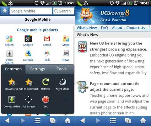 Schermate del browser UC Browser per Android